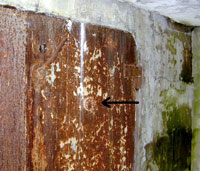 Gastight door in SS air raid shelter, Neuengamme