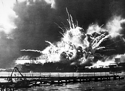 USS Shaw under attack at Pearl Harbor