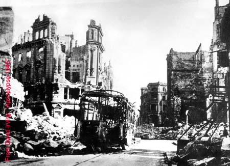 Dresden city street after air raid