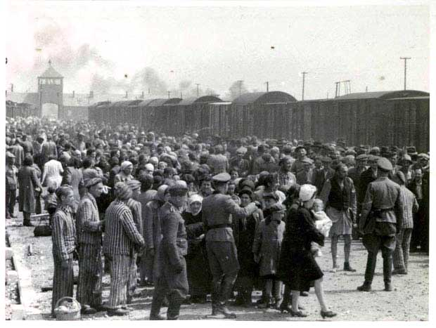 Unidentified prisoners arriving at Auschwitz Birkenau camp.
