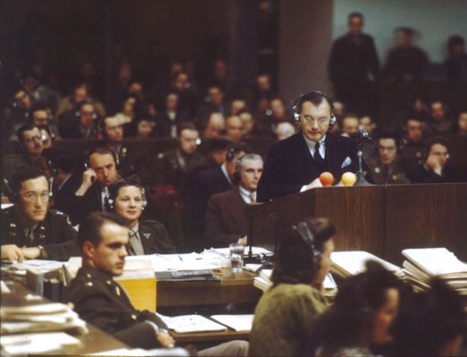 Robert H Jackson makes opening speech at Nuremberg Tribunal